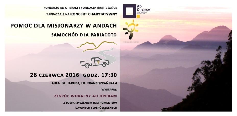 Koncert charytatywny Ad Operam – pomoc dla misjonarzy w Andach